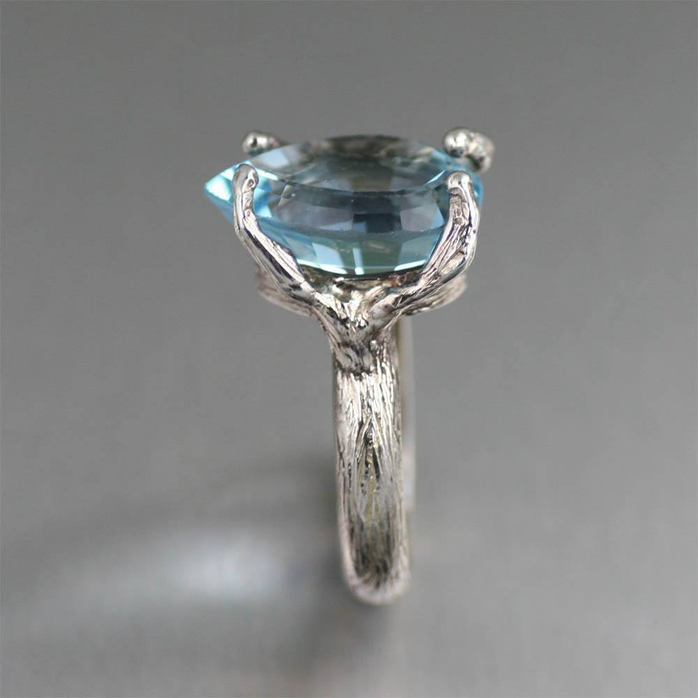 13 ct Pear Cut Blue Topaz Sterling Silver Cocktail Ring - johnsbrana - 4