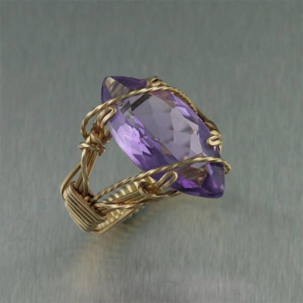 14K Gold Amethyst Cocktail Ring - Marquise Cut - johnsbrana - 1