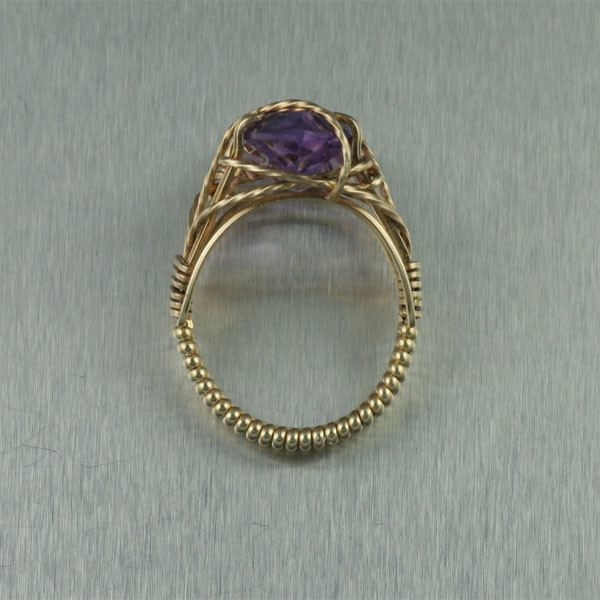 14K Gold Amethyst Cocktail Ring - Marquise Cut - johnsbrana - 2