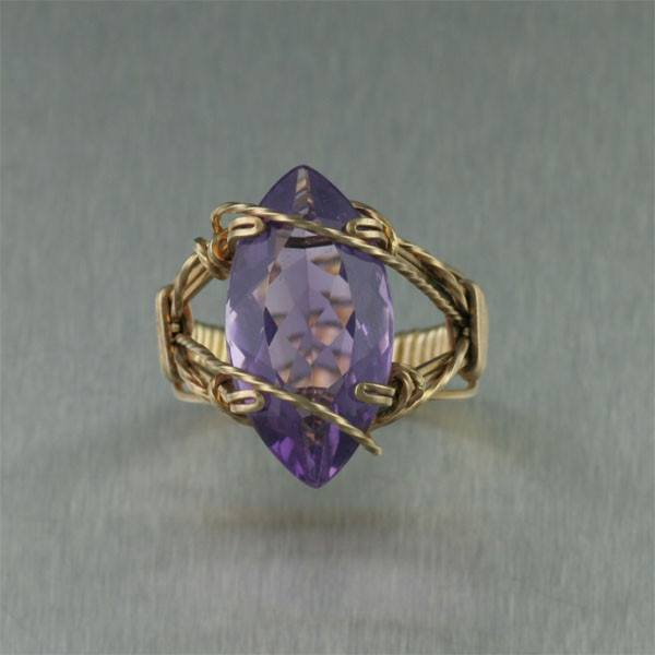 Rings - 14K Gold Amethyst Cocktail Ring - Marquise Cut