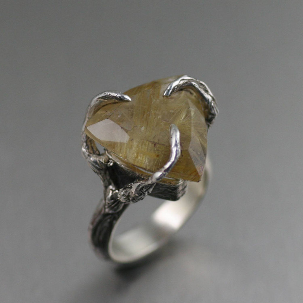 16 CT Rutilated Gold Quartz Sterling Silver Ring - johnsbrana - 1