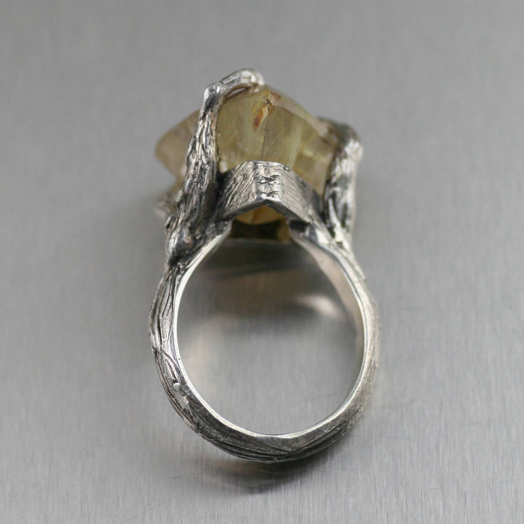 16 CT Rutilated Gold Quartz Sterling Silver Ring - johnsbrana - 2