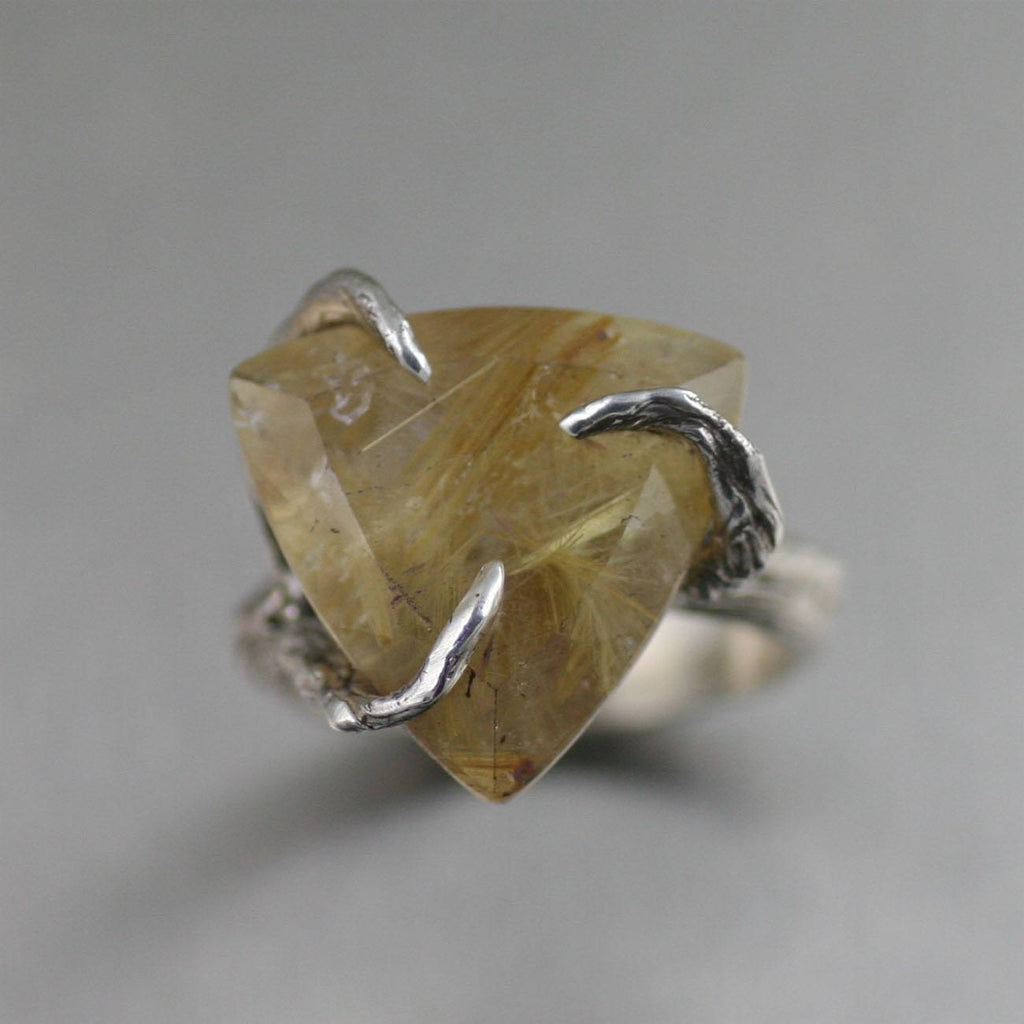 Rings - 16 CT Rutilated Gold Quartz Sterling Silver Ring