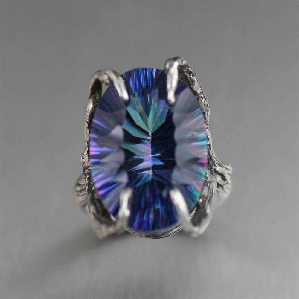 18.5 ct Cushion Cut Mystic Quartz Sterling Silver Cocktail Ring - johnsbrana - 3