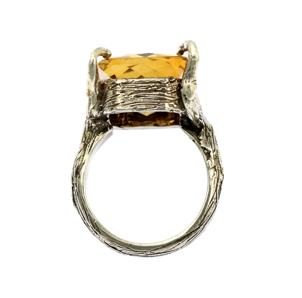 21.5 ct Checkboard Cut Citrine Sterling Silver Cocktail Ring - johnsbrana - 2