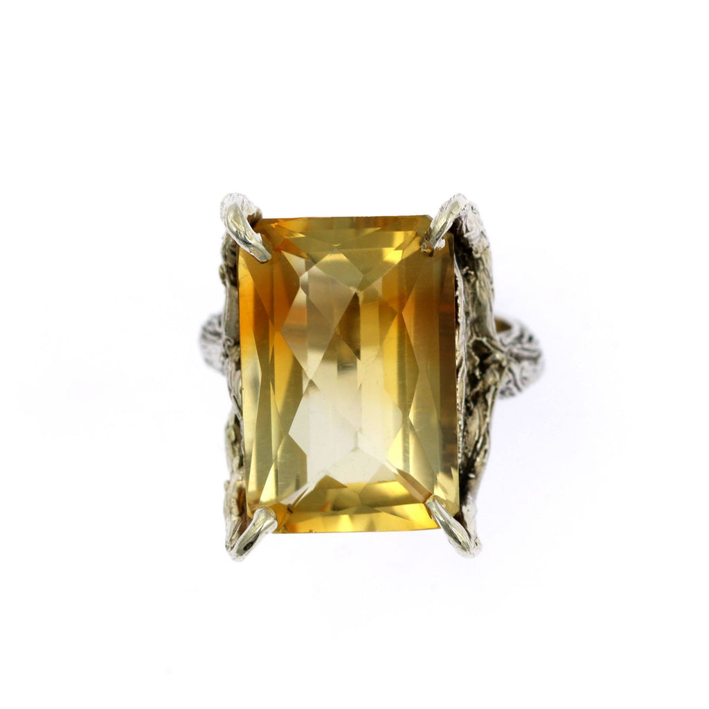 21.5 ct Checkboard Cut Citrine Sterling Silver Cocktail Ring - johnsbrana - 3