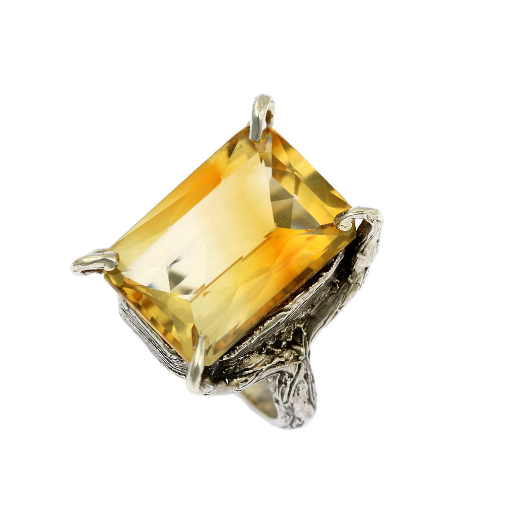 21.5 ct Checkboard Cut Citrine Sterling Silver Cocktail Ring - johnsbrana - 4