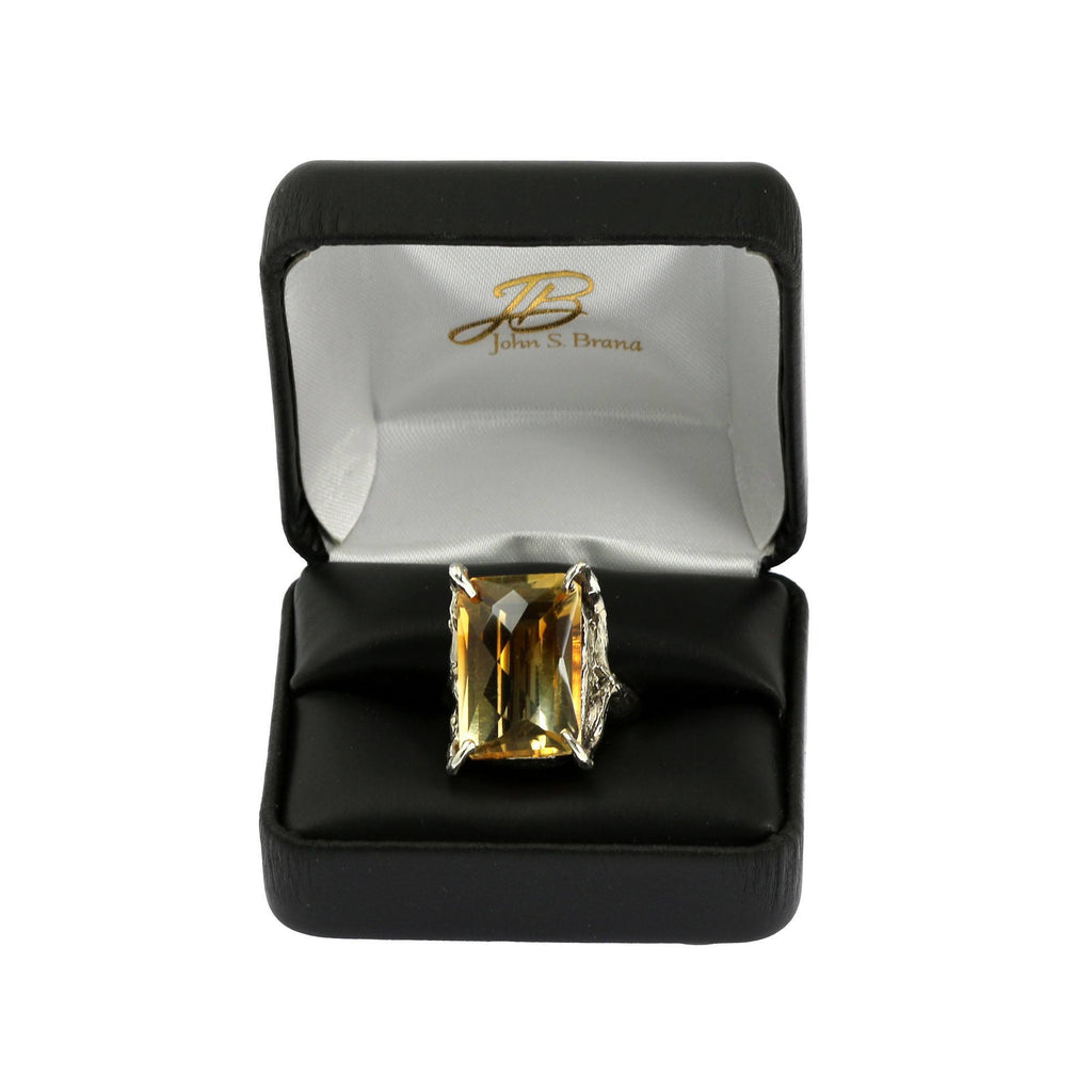 Rings - 21.5 Ct Checkboard Cut Citrine Sterling Silver Cocktail Ring