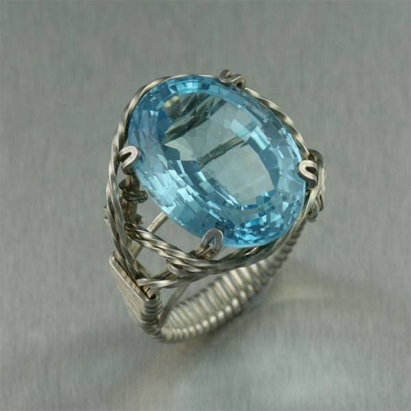 25 ct Cushion Cut Blue Topaz Sterling Silver Cocktail Ring - johnsbrana - 1