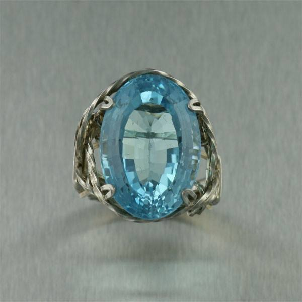 25 ct Cushion Cut Blue Topaz Sterling Silver Cocktail Ring - johnsbrana - 2