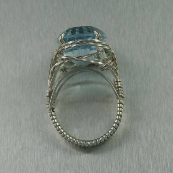 25 ct Cushion Cut Blue Topaz Sterling Silver Cocktail Ring - johnsbrana - 4