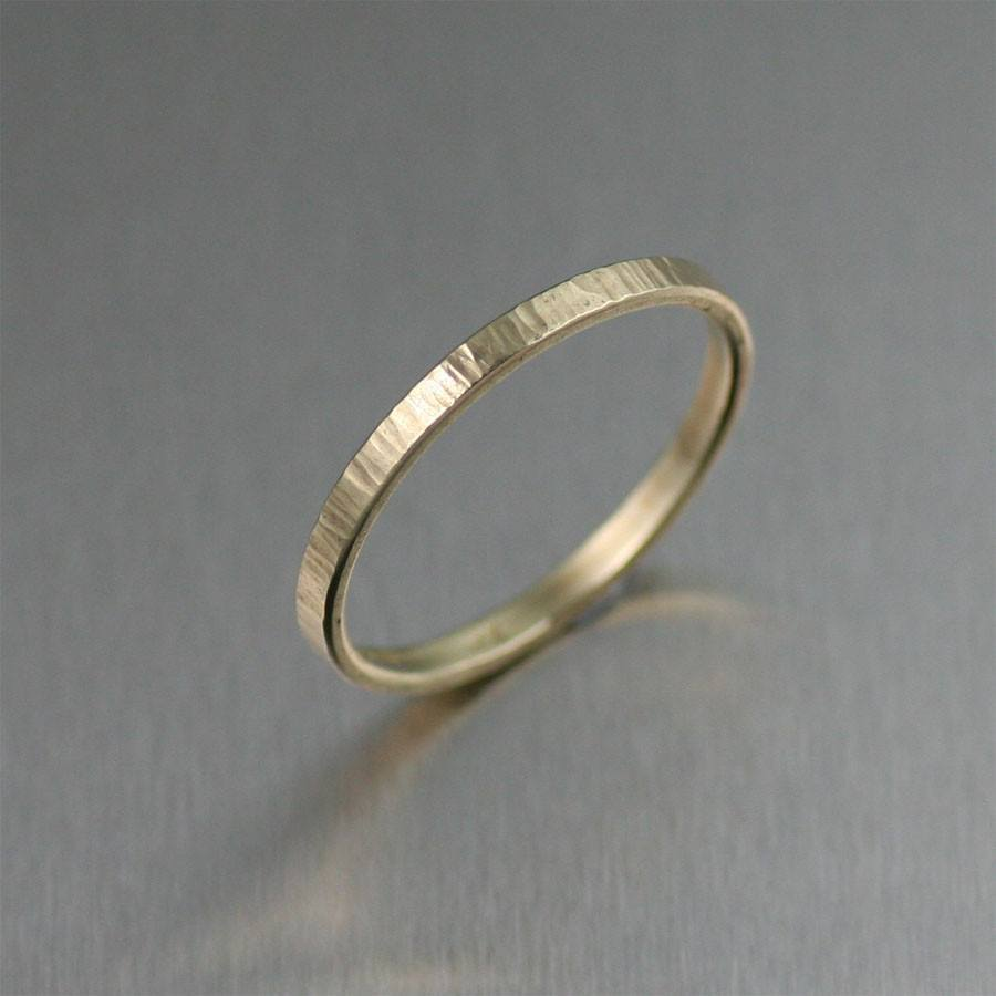 2mm Chased 14K Gold Band Ring - johnsbrana