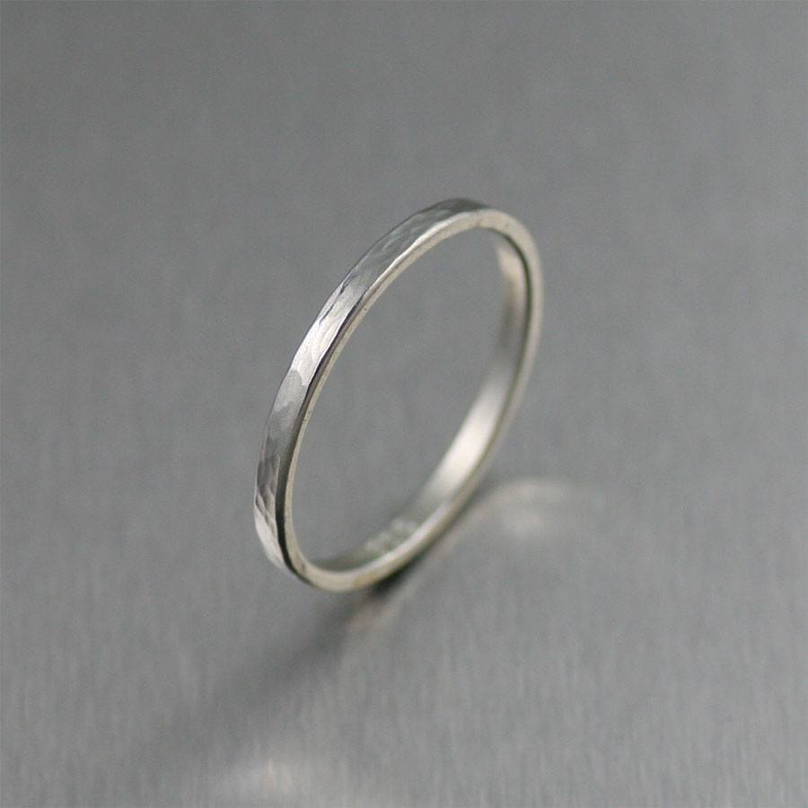 Rings - 2mm Horizontal Chased Sterling Silver Band Ring