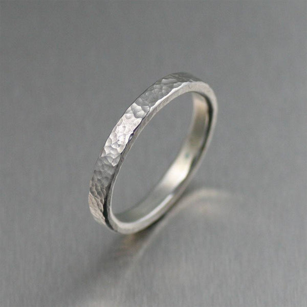 Rings - 3mm Fine Hammered Stackable Sterling Silver Band Ring