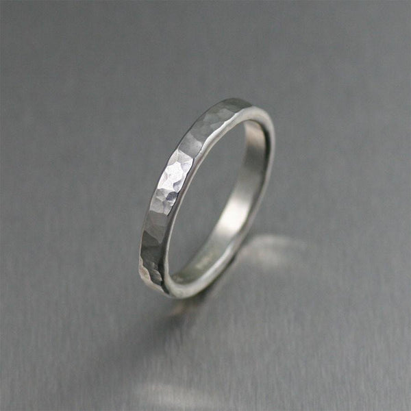 3mm Hammered Stackable Sterling Silver Band Ring - johnsbrana