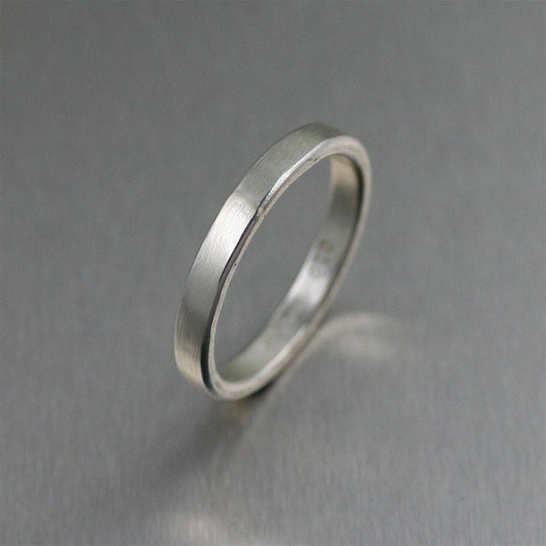 3mm Matte Stackable Sterling Silver Band Ring - johnsbrana