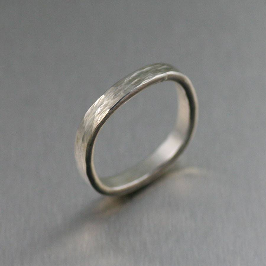 Rings - 3mm Square Chased Stackable Sterling Silver Band Ring