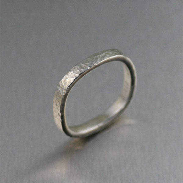 3mm Square Fine Hammered Stackable Sterling Silver Band Ring - johnsbrana
