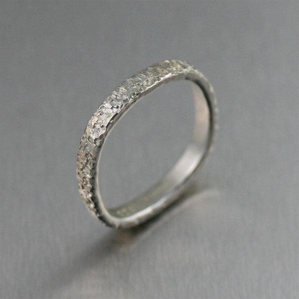 3mm Square Stackable Texturized Sterling Silver Band Ring - johnsbrana