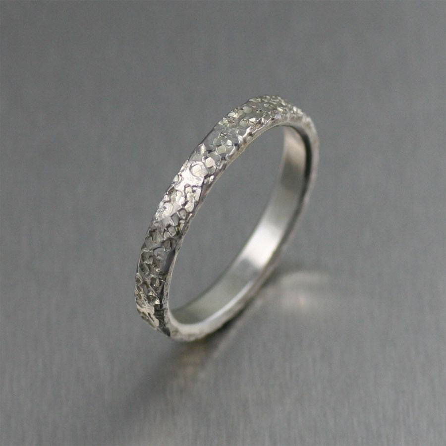 3mm Texturized Stackable Sterling Silver Band Ring - johnsbrana