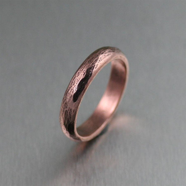 Rings - 4mm Chased Copper Band Ring