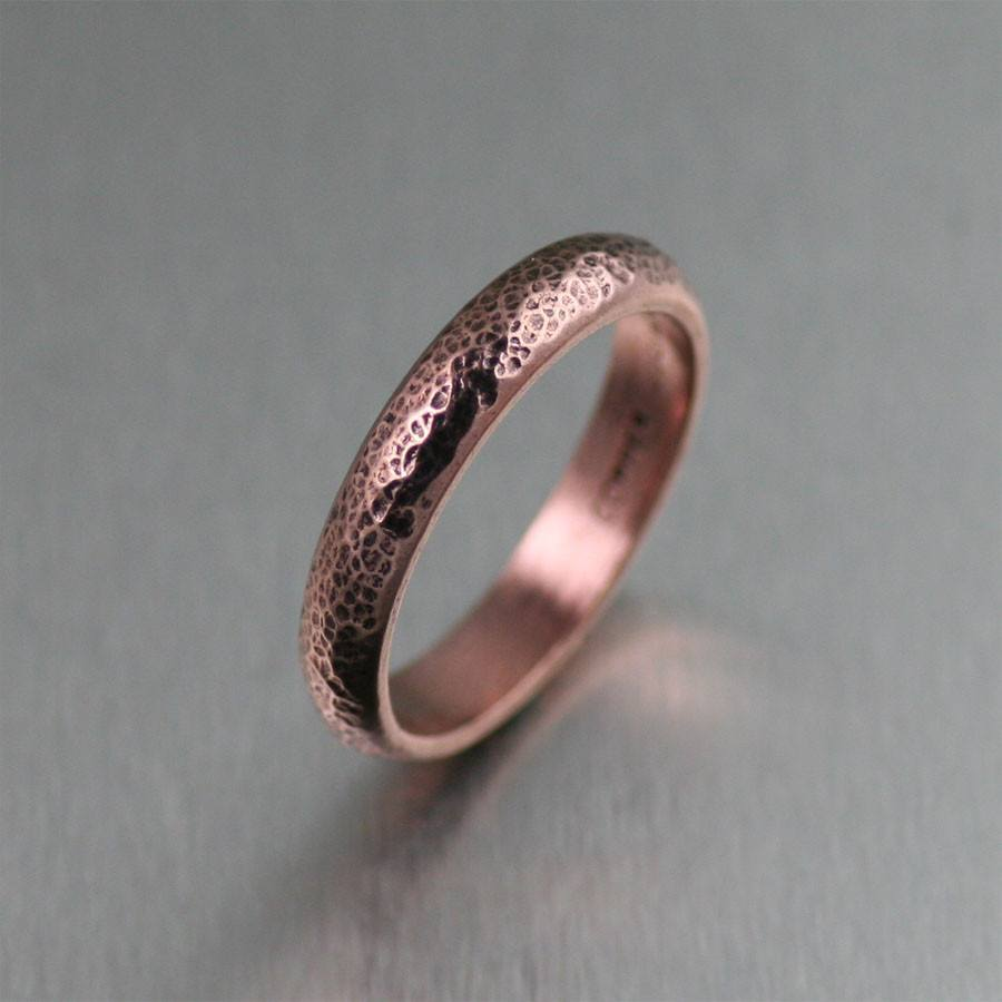Rings - 4mm Fine Hammered Copper Band Ring