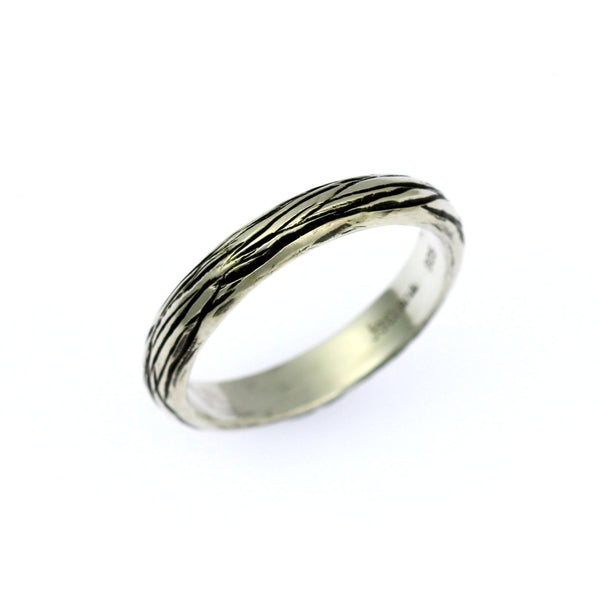 4mm Sterling Silver Bark Band Ring - johnsbrana - 1
