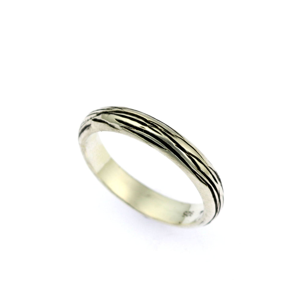 4mm Sterling Silver Bark Band Ring - johnsbrana - 2