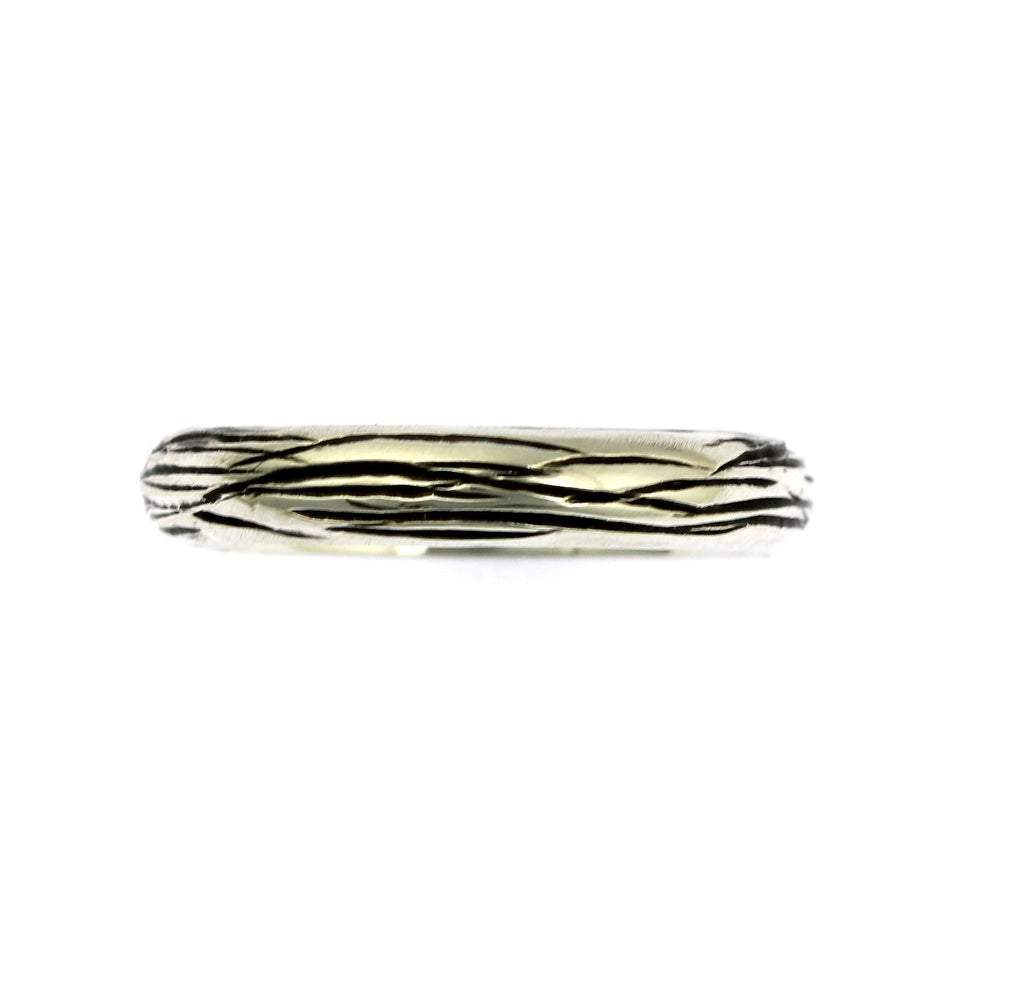 4mm Sterling Silver Bark Band Ring - johnsbrana - 3