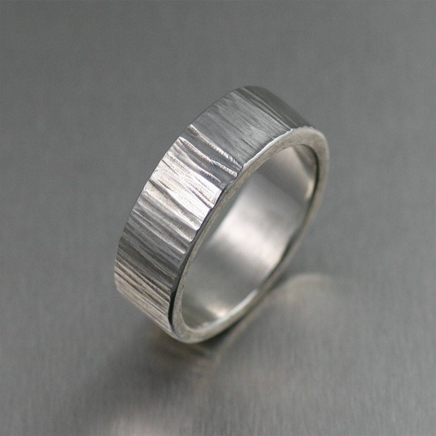 8mm Chased Sterling Silver Band Ring - johnsbrana