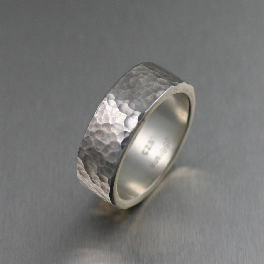 8mm Hammered Sterling Silver Band Ring - johnsbrana