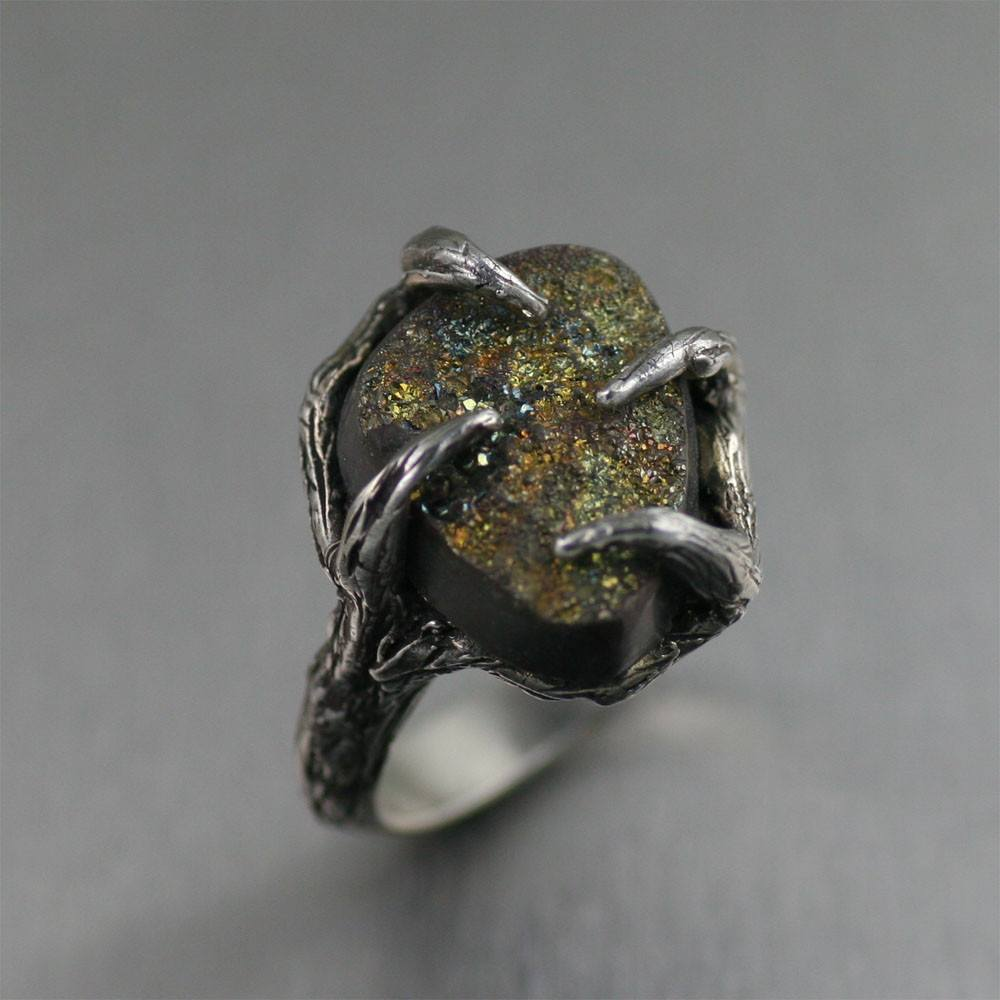 9 CT Pyrite Sterling Silver Tree Branch Ring - johnsbrana - 1
