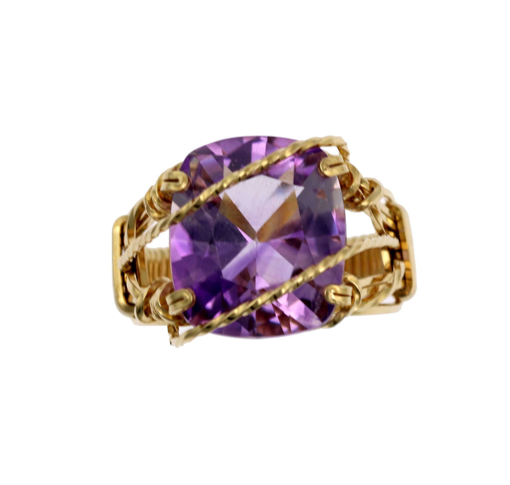 Amethyst 14K Gold-filled Cocktail Ring - johnsbrana - 3
