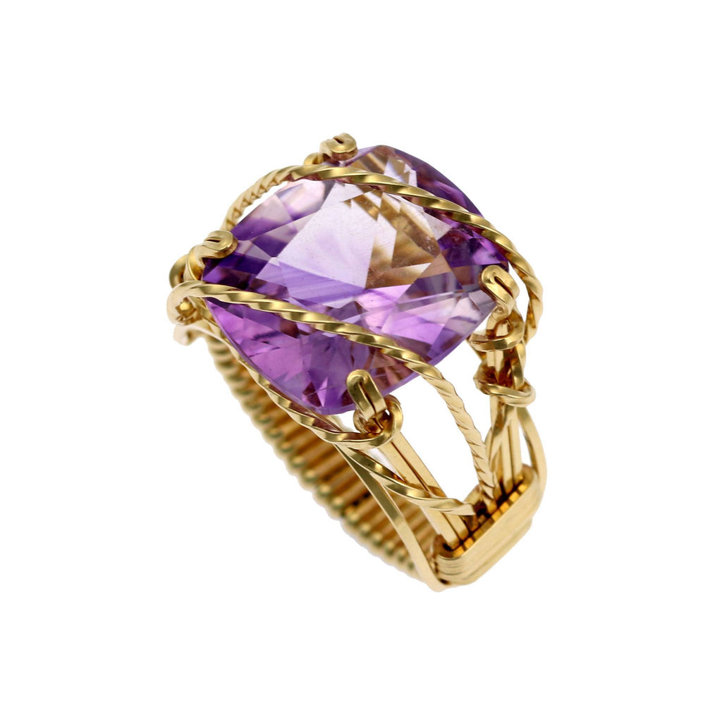 Amethyst 14K Gold-filled Cocktail Ring - johnsbrana - 4