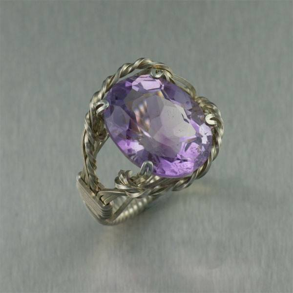 Amethyst Sterling Silver Cocktail Ring - Cushion Cut - johnsbrana - 1
