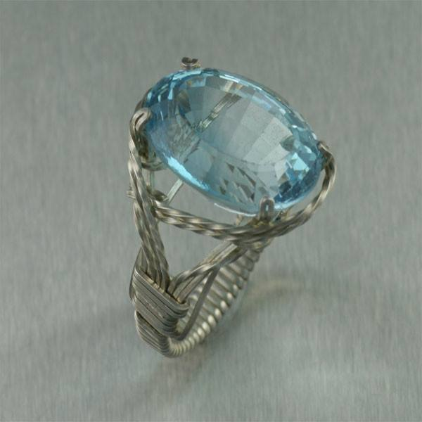 Blue Topaz Sterling Silver Cocktail Ring - Cushion Cut - johnsbrana - 1