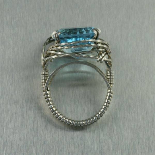 Blue Topaz Sterling Silver Cocktail Ring - Cushion Cut - johnsbrana - 4