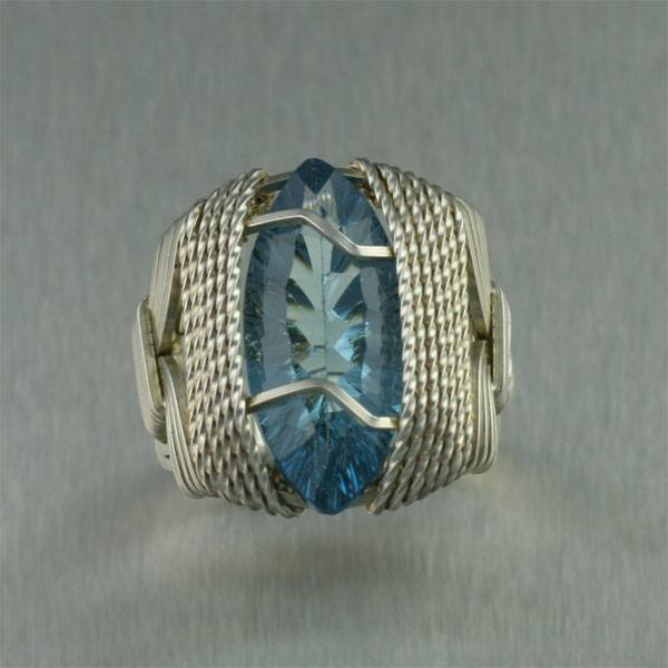 Blue Topaz Sterling Silver Cocktail Ring - Marquise Cut - johnsbrana - 1