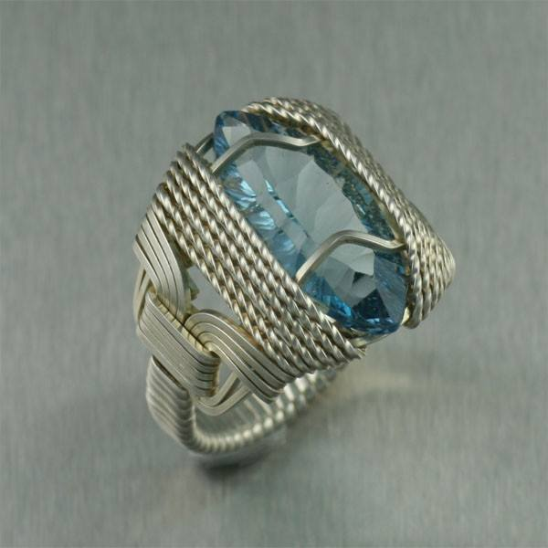 Blue Topaz Sterling Silver Cocktail Ring - Marquise Cut - johnsbrana - 2