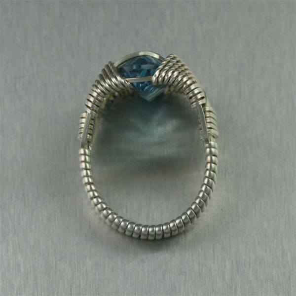 Blue Topaz Sterling Silver Cocktail Ring - Marquise Cut - johnsbrana - 3