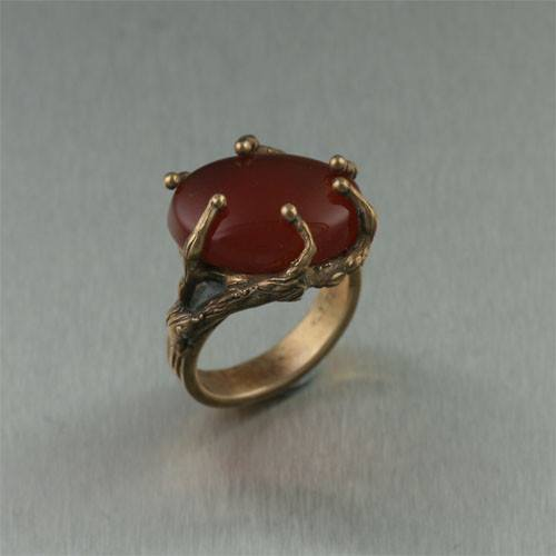 Carnelian Redwood Bronze Ring - johnsbrana - 1