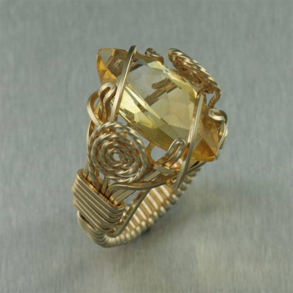 Citrine 14K Gold-filled Cocktail Ring - Marquise Cut - johnsbrana - 1