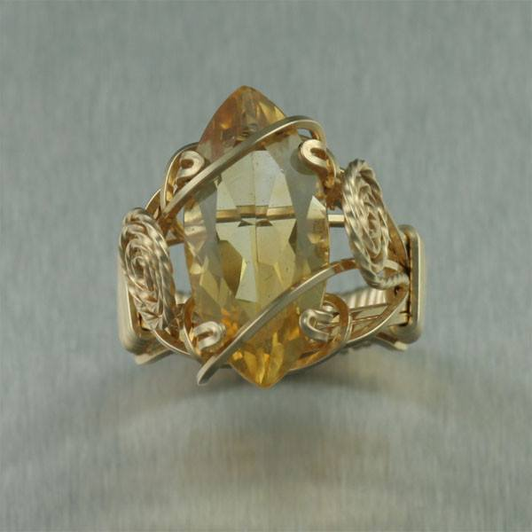 Citrine 14K Gold-filled Cocktail Ring - Marquise Cut - johnsbrana - 2