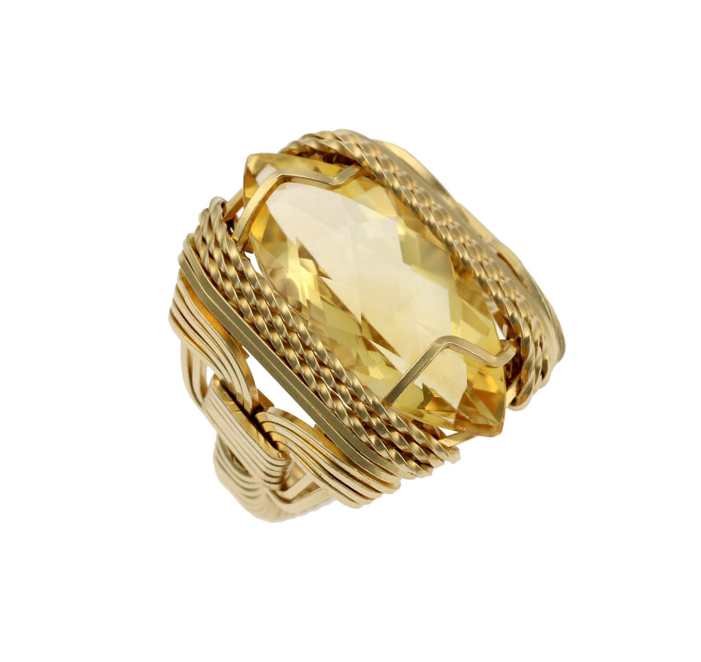Citrine 14K Gold-filled Cocktail Ring - Marquise Cut - Large - johnsbrana - 1