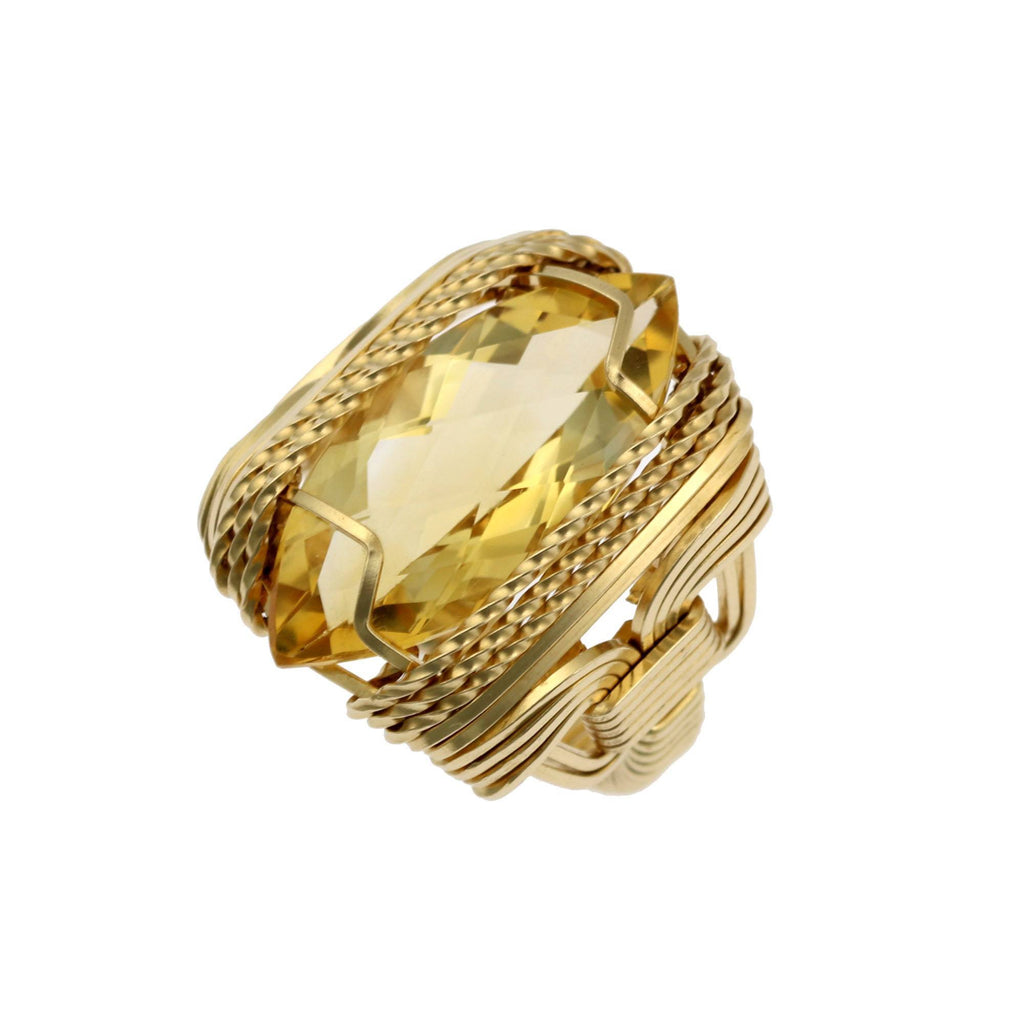 Citrine 14K Gold-filled Cocktail Ring - Marquise Cut - Large - johnsbrana - 2