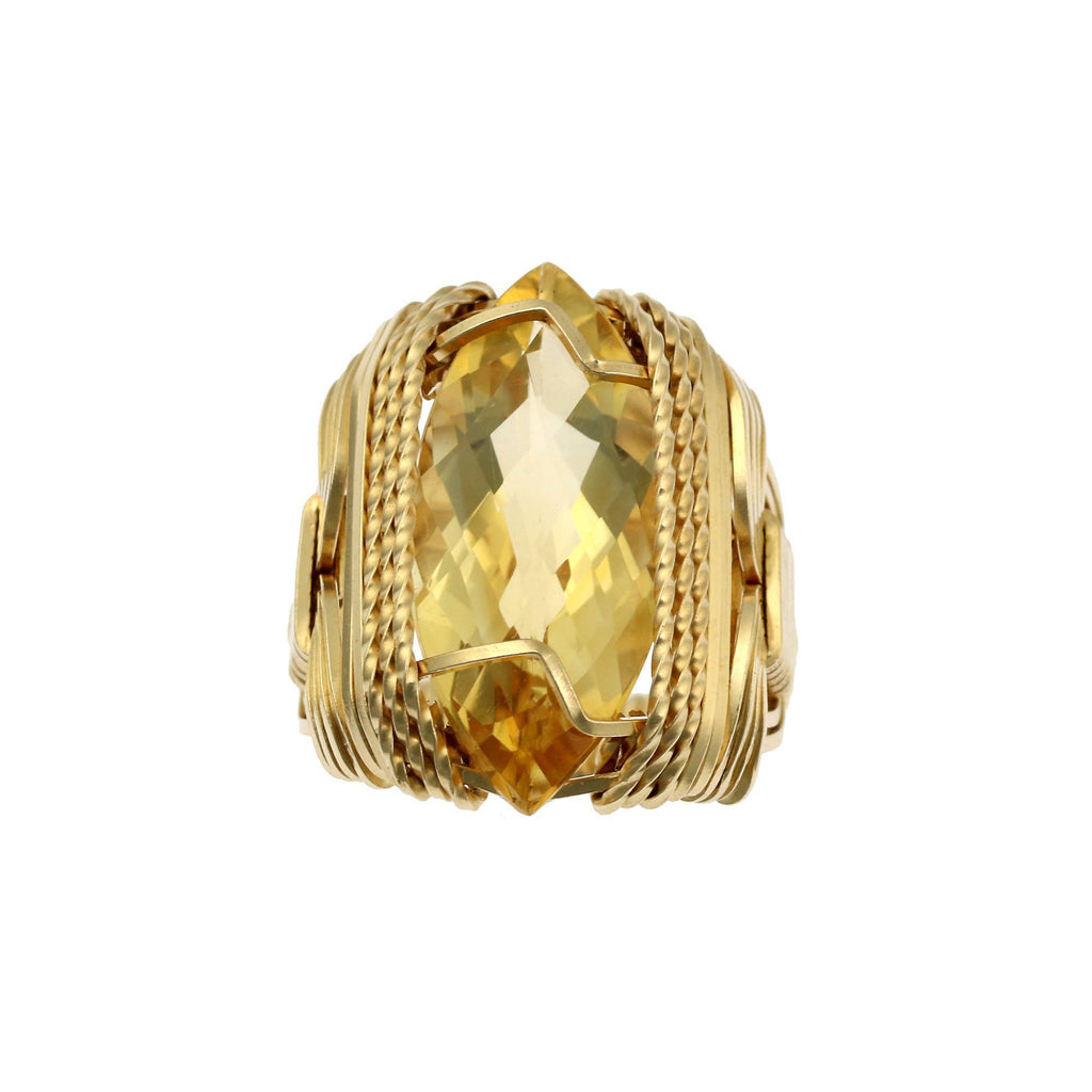 Citrine 14K Gold-filled Cocktail Ring - Marquise Cut - Large - johnsbrana - 3