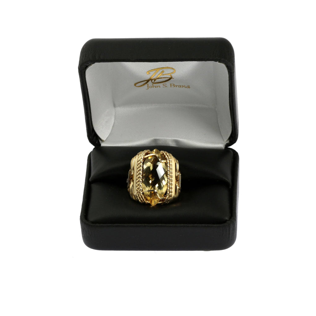 Rings - Citrine 14K Gold-filled Cocktail Ring - Marquise Cut - Large