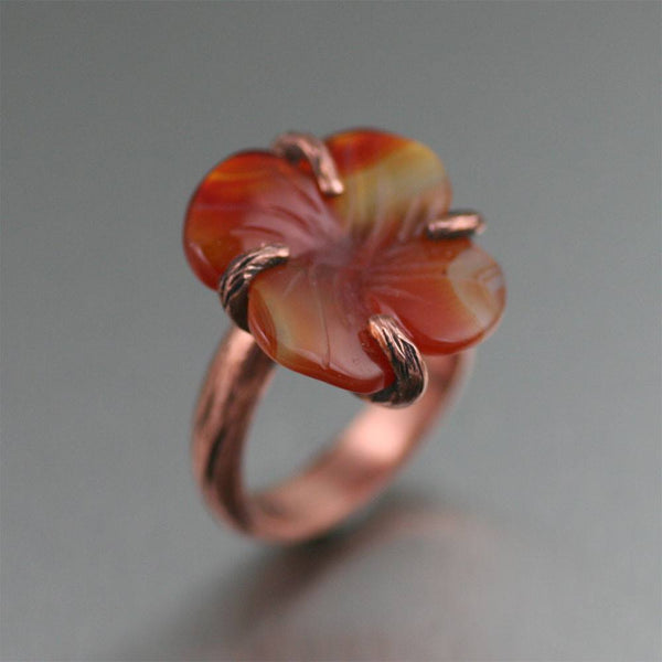 Copper Carnelian Dogwood Ring - johnsbrana - 1