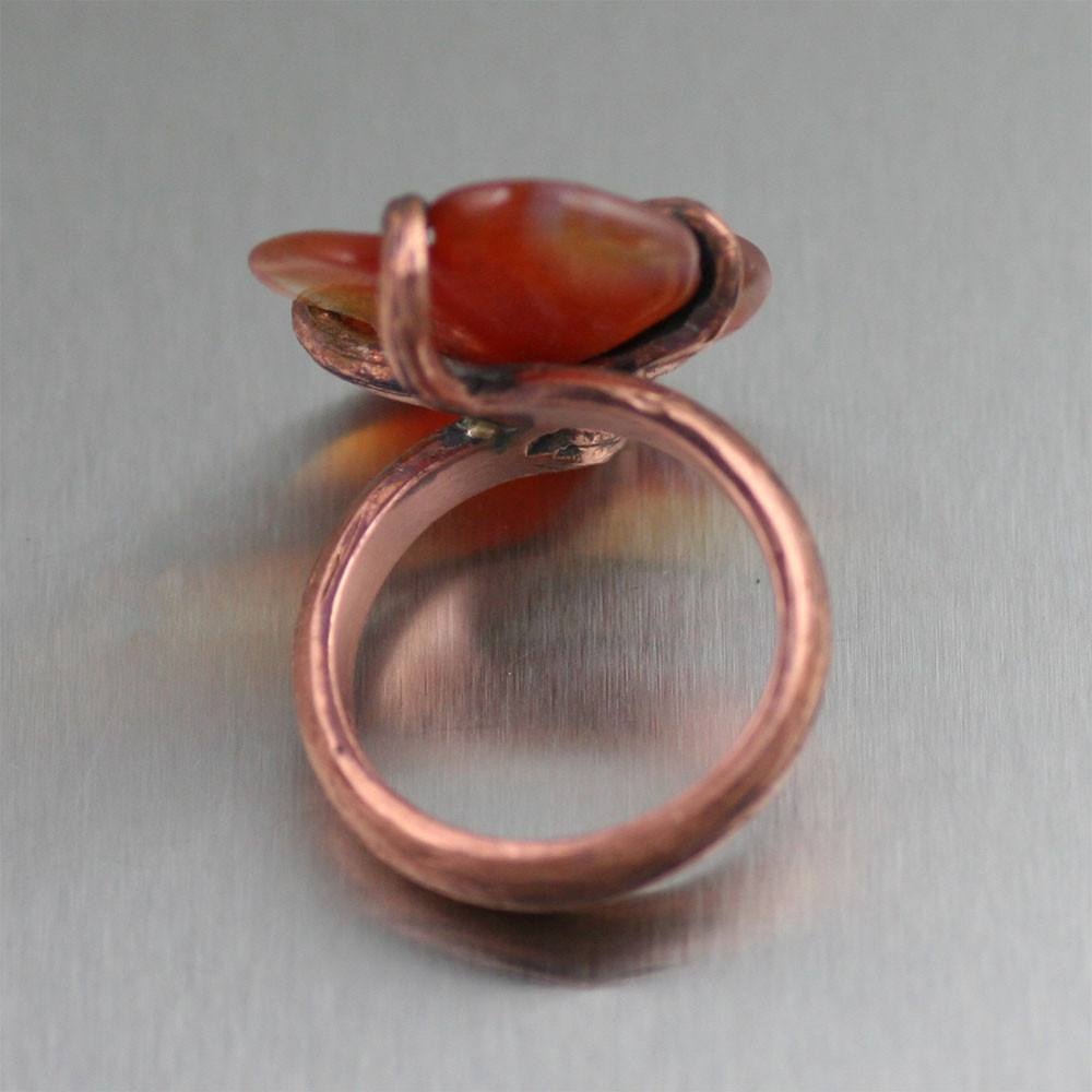 Copper Carnelian Dogwood Ring - johnsbrana - 2