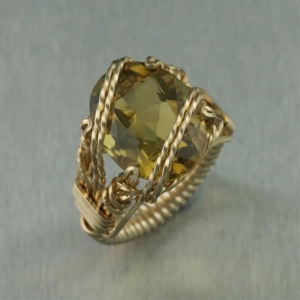 Green Gold Quartz 14K Gold-filled Cocktail Ring - Cushion Cut - johnsbrana - 1